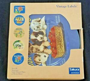 Sakura Oneida: Vintage Labels Salad / Dessert Plates - Set of 4  -  Brand NEW