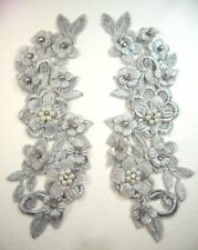 """Venice Lace Applique Silver Floral w/ Crystal Rhinestones and Pearls 8"""" (DH101)"""