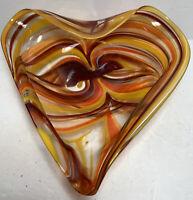 Mid Century Modern Hand Blown Art Glass Brown Yellow Orange Red Candy Trinket