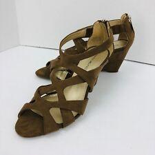 Bandolno Strappy Wedge Sandal Tan Brown Suede Like Zip Size 7 M Shoe