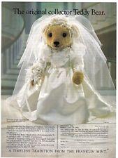 """FRANKLIN MINT DOLL TEDDY BEAR VICTORIAN BRIDE 18"""" NIB"""