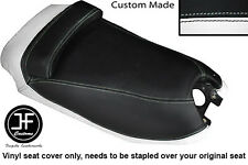 BLACK AND WHITE VINYL CUSTOM FITS HYOSUNG GRAND PRIX 125 DUAL SEAT COVER ONLY