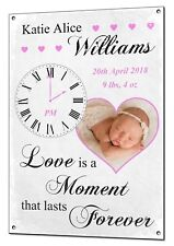 Custom Photo New Baby Moment in Time Personalised Metal Plaque Christening Gift