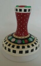 """Mary Engelbreit Round Cookie Mold Stamp Press Flowers Checkers Polka 3 1/4"""" Wide"""