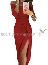 UK Womens Ladies Off Shoulder Evening Party Long Pencil Split Midi Dress 6 - 16