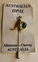 Vintage Australian Kangaroo Opal Center Lapel Stick Pin Gold Tone NOS