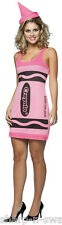 Ladies Pink Purple Green Blue Crayola Crayon 1990s Fancy Dress Costume Outfit