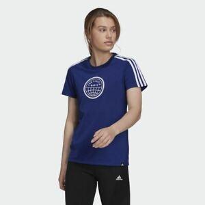 Adidas 3 Strips T-Shirt Girls Short Sleeves Ladies Graphic Tee Top Crew Neck