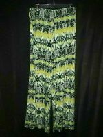 ZAC & RACHEL Size L Wide Palazzo Pants Green Black Blue White Elastic Waist