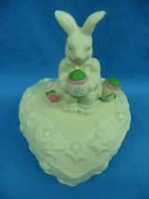 Heart Shaped Bisque Candy Dish Trinket Box With Easter Bunny And Eggs On Lid