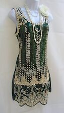 1920'S STYLE GATSBY VINTAGE LOOK CHARLESTON SEQUIN FLAPPER DRESS SIZE 14/16