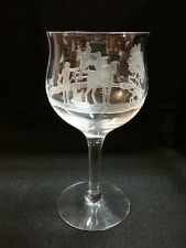 "Heisey Fox Hunt Chase #462 Deep Etch 6 5/8"" Tall Wine Glass 10 oz Horse Steeple"