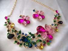 Unsigned Betsey Johnson Multi Color Crystals Glass  Floral Garden Necklace Set