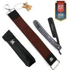 More details for vintage barber salon cut throat shaving razor set free pouch, leather strop belt