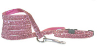 Pretty Dusky Pink Sparkle chihuahua dog puppy collar & lead, step in harness