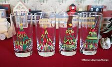 CRATE & BARREL JOLLY TREES GLASS TUMBLERS (4) -NIB- LET'S DRINK TO HOLIDAY FUN!