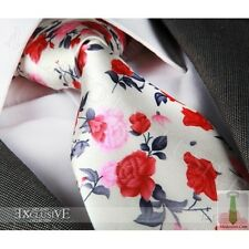 RED, PINK & IVORY FLORAL SILK TIE (faulty) - ITALIAN DESIGNER