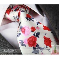 Nuevo Diseñador Italiano Rojo, Rosado Y Marfil Corbata Seda Floral (defectuoso)