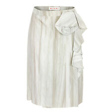 MARNI $645 printed silk acetate asymmetrical ruffled wrap around skirt 40/4 NEW