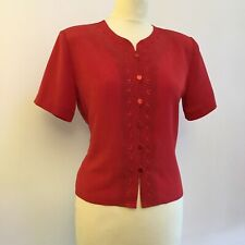 Berkertex Vintage Red Short Sleeve Embroidered Blouse Top, 12 Petite