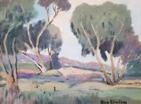 Oliver Albertson Original Oil Painting Landscape Antique Painting in Gold Frame