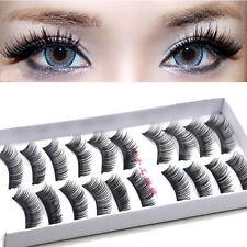 10 Pairs Black Long Cross False Eyelashes Makeup Natural Fake Thick Eye Lashes