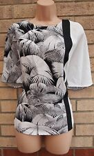 TOPSHOP WHITE BLACK MINT GREEN BACK TROPICAL BAGGY OVERSIZED BLOUSE TOP TUNIC 8