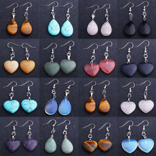 Heart Natural Stone Dangle Water Drop Earrings Women Crystal Opal Jewellery Gift