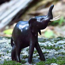 African Hand Carved Ebony Wood Raised Trunk Elephant Statue