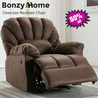 Oversize Manual Recliner Chair Overstuffed Armrest Padded Lounge Sofa Chair