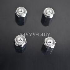 Car White Tire Tyre Wheel Valve Stems Caps For Mercedes-Benz All Model 4PCS/SET