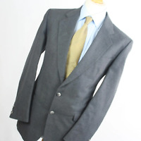 Mens Grey Suit 42/32 Regular Pinstripe Single Breasted Wool Blend Pinstriped