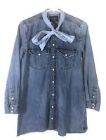 Lucky Brand Womens True Indigo Western Denim Shirt Dress Pearl Snaps size XS