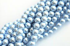 70 Sky Blue Glass Pearl Round Beads 6MM LIMITED