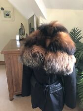 Pellessimo Fox Fur Collar Black Leather Trim Slighty Padded 3/4 Jacket/ Coat