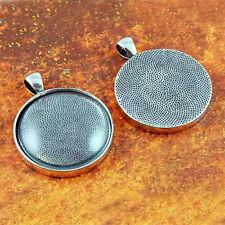 10 QTY - PRO 30MM ROUND ANTIQUE SILVER PHOTO PENDANT TRAYS BEZEL JEWELRY & GLASS