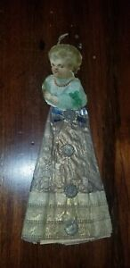 ANTIQUE VICTORIAN DRESDEN PAPER STARS BABY DIE CUT CHRISTMAS ORNAMENT 6.5""