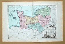 Superbe carte de la Manche Calvados Orne Eure Seine...1790 coloris époque TBE