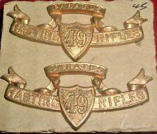 COLLAR BADGES-MATCHED PAIR CANADIAN PRE 1914 MILITA 49th HASTINGS RIFLES