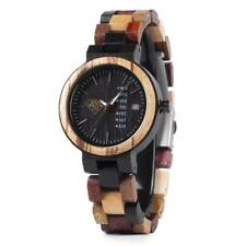 Multi Color Bamboo Wood Watch Date Display Womens Wrist Watch