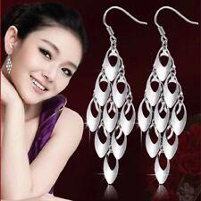 Trendy 925 Sterling Silver Tassel Decor Drop Dangle Chain Earrings Long Hook UK