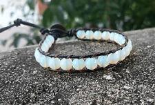 Opal stone leather wrap bracelets,men women bracelets,size 7-9''handmade