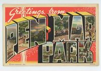 Large Letter Linen Greetings from PEN MAR PARK PA Vintage Pennsylvania Postcard