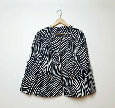 Liz Jordan BNWT RRP$169 Womens Plus Size 16 Black White Zebra Doreen Jacket Coat