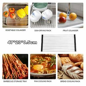 47*23cm Dish Drainer Stainless Steel Over Sink Roll-Up Dish Rack Draining Mat