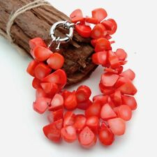 "8"" 2 Strands Red Orange Coral Top-drilled fan statement Bracelet"