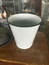 Vintage White Enamel Bucket/Pail With Wooden Handle Watertight
