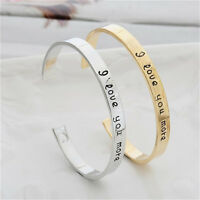 I Love You More Letters Adjustable Cuff Bangle Heart Couple Opening Bracelets PA