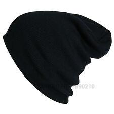 Men Women Knit Plain Beanie Cap Ski Hat Solid Casual Winter Hats Caps Black
