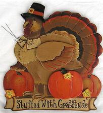 Stuffed with Gratitude Thanksgiving Turkey Thankful Festive Autumn Wood Sign